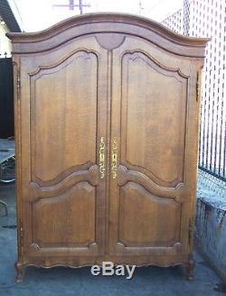 Tiger Quartersawn Oak COUNTRY FRENCH PROVINCIAL 2 Door ARMOIRE WARDROBE Cabinet