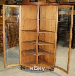 Unique, Curved Glass, Tiger Oak, Corner Cabinet