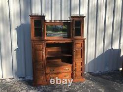 Unusual Antique Tiger Oak Raised Paneled Bookcase/Cabinet 76 X 59 X 14