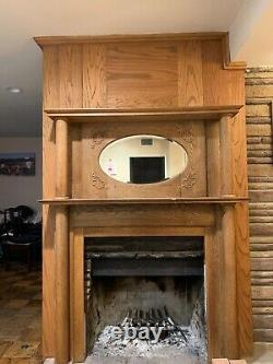 Victorian American Tiger Oak Fireplace Mantel Double Column. With extensions
