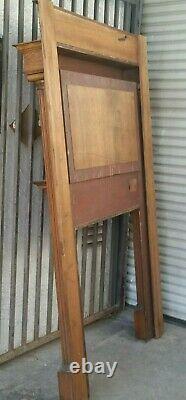 Victorian American Tiger Oak Fireplace Mantel Fluted Column Oval Mirror 1890's