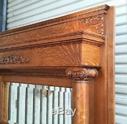 Victorian American Tiger Oak Fireplace Mantel Tall Columns Restored in LA Area