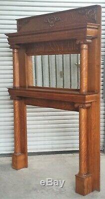 Victorian American Tiger Oak Fireplace Mantle Double Column Restored in LA Area