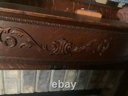Victorian American Tiger Oak Mantel and Mirror Fireplace Surround