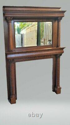 Victorian American Tiger Oak Tall Fireplace Mantel Columns & Mirror Restored