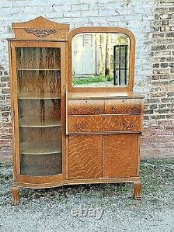 Victorian Antique Tiger Oak side by side china cabinet with claw feet