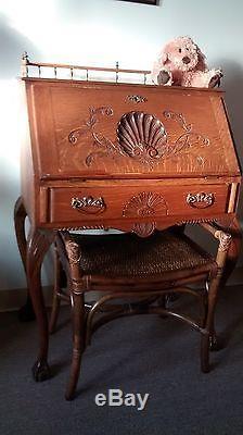 Victorian Antique(tiger Oak) Petite Writing Desk Pre 1800
