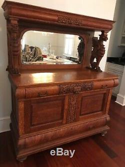 Victorian Hand Carved Tiger Oak Sideboard