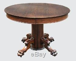 Victorian Tiger Oak Antique Pedestal Dining Table & 3 Leaves Probably Hastings