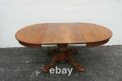 Victorian Tiger Oak Claw Feet Round Dinette Dining Table and 3 Leaves 2182