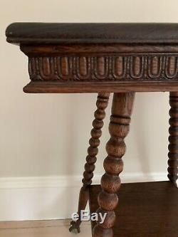 Victorian Tiger Oak Glass Ball Claw Foot Parlor Table Antique End Side Quarter