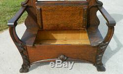 Victorian Tiger Oak Hall Tree Seat circa 1900