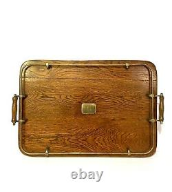 Victorian Tigers Oak & Brass Butlers Serving Tray With Gallery Country House