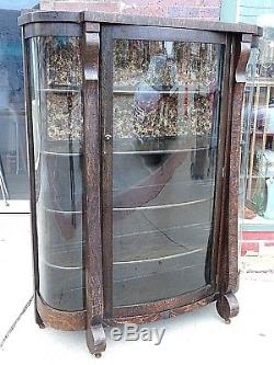 Victorian large Antique Curved glass tiger oak carved Empire China Cabinet