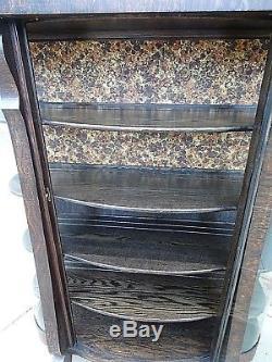 Victorian Large Antique Curved Glass Tiger Oak Carved