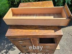 Vintage 1900s Library Card Catalog Tiger Oak Brass Pull Vintage Cabinet 8 Drawer
