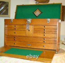 Vintage 26 inch 11 drawer GERSTNER Tiger Oak Chest, a 052 Unit, Restored. Superb