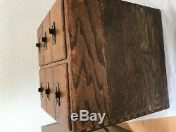 Vintage Antique 6 Drawer Tiger Oak File Box Library Card Catalog Cabinet