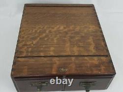 Vintage Antique MACEY Dark Tiger Oak 2 drawer card catalog file cabinet NICE
