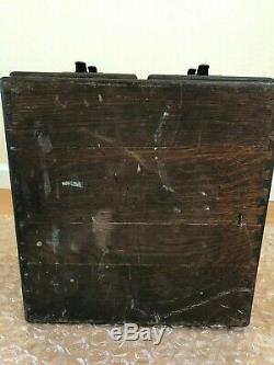 Vintage Antique MACEY Dark Tiger Oak 4 drawer card catalog file cabinet