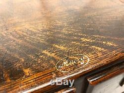 Vintage Antique MACEY(Warnicke) Dark Tiger Oak 4 drawer file cabinet(KEEE)
