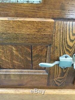 Vintage Antique Tiger oak 3 door Porcelain lined Leonard ice box