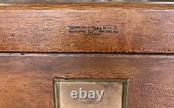 Vintage Antique Yawman & Erbe Mfg. New York Tiger Oak 4 Drawer Filing Cabinet