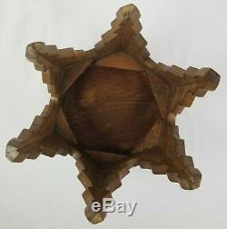 Vintage Arts & Crafts Hexagonal Tiger Oak Taboret Table Plant Stand