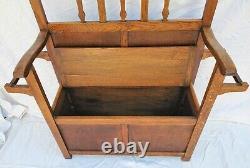 Vintage Arts & Crafts / Mission Tiger Oak Hall Tree Seat Stand & Mirror 1910's