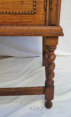 Vintage Barley Twist English Tiger Oak Sideboard / Buffet Console with Mirror