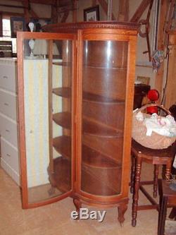 Vintage Cabinet, Early 1900's, Curved Glass, Original, Tiger Oak 6 Ft
