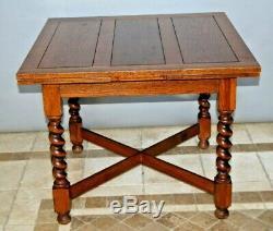Vintage Dutch Oak Refectory Table with Large Barley Twist Legs drop down leafs