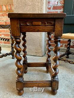 Vintage English Carved Tiger Oak Barley Twist Bench Stool Footstool Table Small