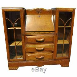 Vintage English Tiger Oak Drop Front Secretary With Side By Side Display Cabinet