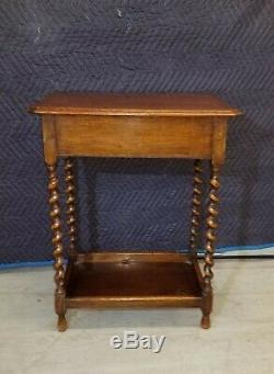 Vintage French Country Barley Twist Tiger Oak Side Table w Storage