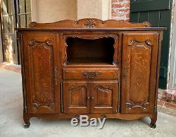 Vintage French Country Carved Tiger Oak Sideboard Cabinet Bookcase 5 ft