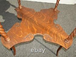 Vintage French Country Tiger Oak Barley Twist 2 Tier Side Table