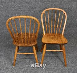 Vintage French Country Tiger Oak Spindle Back Dining Chairs