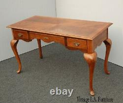 Vintage French Country Writing Desk w Tiger Oak Top and Three Drawers
