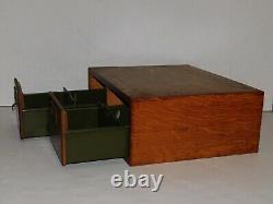 Vintage Globe Wernicke Tiger Oak 2 Drawer Card Catalog Cabinet Wooden Drawers