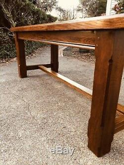 Vintage Heavy Tiger Oak English Harvest Farmhouse Country Ranch Dining Table