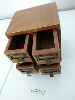 Vintage Library 4 Drawer Card Catalogue File Cabinet