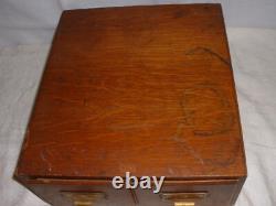 Vintage Library File Box Tiger Oak Wood Card Catalog Library File Box-2 Drawer