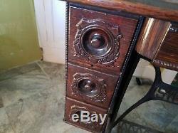 Vintage Sewing Machine Fancy Singer 7 Drawer Table Tiger Oak Cabinet EX Sew