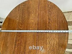 Vintage Stickley Gate Leg Table Drop side Round Tiger Oak Mission Arts & Crafts