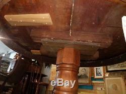 Vintage Tiger Oak Pedestal Dining Table Round 48 Diam 31.5 Tall