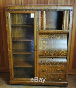 Vintage Tiger Oak Secretary Bookcase