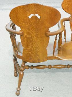 Vintage Tiger Oak Tete-a-Tete Conversation Bench