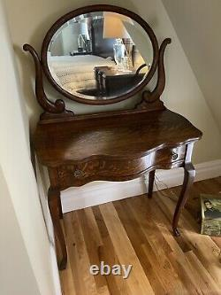 Vintage Tiger Oak Vanity with Attached Mirror