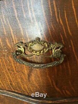 Vintage Tiger Oak Veneer Tall Serpentine Chest Of Drawers & Mirror